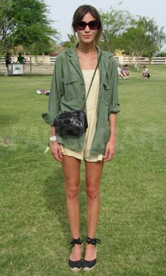 Alexa Chung's festival fashion = espadrilles + military jacket