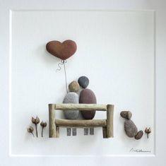 Pebble art, pebble art, happy birthday, personalized family art work, pebble art couple - art worlds Pebble Pictures, Art Pictures, Photos, Stone Pictures, Stone Crafts, Rock Crafts, Pebble Stone, Stone Art, Art Birthday