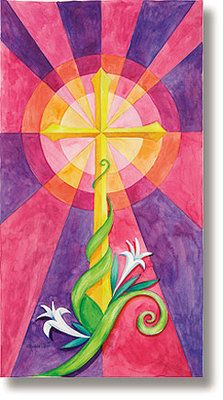 Stained Glass Cross Church Banner - Celebration