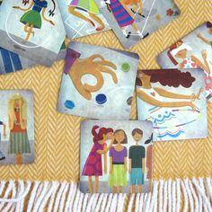 ilustracja dla dzieci katarzyna urbaniak memory zabawy podwórkowe memory karty kapitan nauka retro illustration for children vector art artwork