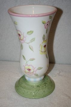 """FTD tall Floral vase/bowl  measures approx: 9 3/4"""" x 5""""D **there is a chip on the base that was glued back on $15.50"""