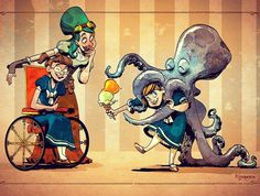 From Brian Kesinger: Here's a recent commission I have just completed for two sweet girls who have now learned the importance of sharing ice cream with your domesticated cephalopod.