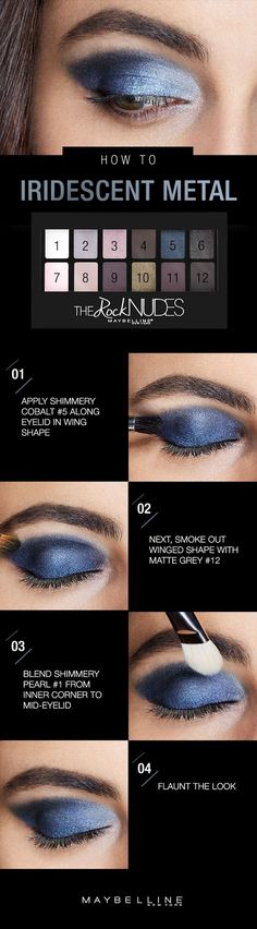 The 4th of July weekend calls for a blue smokey eye look (gotta rep that flag, of course). To rock this iridescent metal eyeshadow look, grab the new Maybelline Rock Nudes palette and apply shimmery cobalt blue along your lid from the inner to outer corner, forming a subtle winged shape. Draw out the shape, making it a bit smoky with matte grey, then highlight and blend with shimmery pearl.: