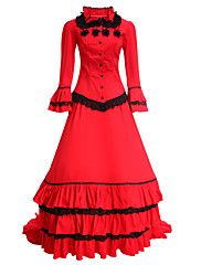 Medieval+Victorian+Costume+Women's+Party+Costume+Masquerade+Red+Vintage+Cosplay+Cotton+Long+Sleeves+–+CZK+Kč+150+290