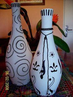 Garrafas decoradas | BRECHO DO CHÁ | F0807 - Elo7