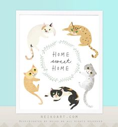 Home+Sweet+Home+Cat+Print/+Poster+by+PaperPlants+on+Etsy