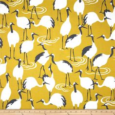 Dwell Studio Winter Crane Blend Golden Rod from @fabricdotcom  Screen printed on a cotton/linen blend this medium weight fabric is very versatile and perfect for window treatments (draperies, valances, curtains, and swags), toss pillows and upholstery. Colors include ivory, grey and golden yellow.