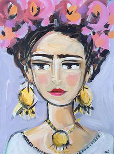 FRIDA / acrylic Portrait ORIGINAL painting on canvas -girl portrait- home decor… Art Journal Inspiration, Art Inspo, Original Paintings, Original Art, Watercolor Face, Artists For Kids, Illustration Art, Art Illustrations, Impressionism Art