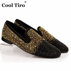 COOL TIRO Gold strass Rhinestones Loafers Men Flats Black Suede Smoking Slippers Loafers Wedding Party Suede Dress Slip-on Shoes
