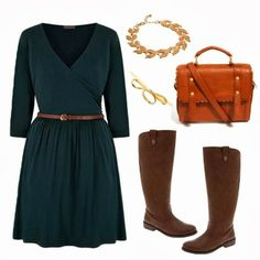 Dark blue dress, brown handbag and long boots for fall. Slap on some tights if you like and you have a teacher outfit.