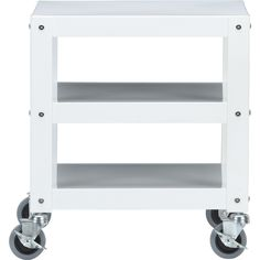 go-cart white rolling table   CB2