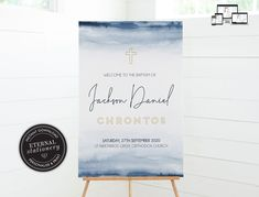 Baptism Welcome Sign Template for Boy, Watercolor Baptism Sign, Baptism Boy, Christening Welcome Sign Boy, Modern Baptism Sign Boy, Jackson Boy Christening, Boy Baptism, Christening Invitations, Sign Templates, Photo Center, Font Styles, Premium Fonts, Textured Background, Welcome
