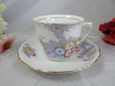 1960s Colclough English Bone China Teacup and Saucer with Hand Painted accents