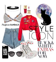 """""""Red explosion"""" by annika-life on Polyvore featuring Kat Maconie, Moschino, Miss Selfridge and Yves Saint Laurent"""