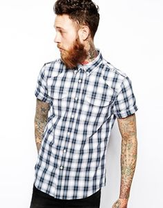 ASOS Utility Shirt In Short Sleeve With Navy Check $22.64 at #Asos with Promo Code HAVE10 this Labor Day Weekend