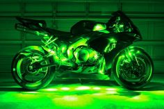 Green Motorcycle LED Neon Accent Lighting Kit with 10 Chrome LED Light Pods