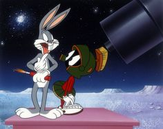 Bugs Bunny - Bugs and Marvin the Martian by Warner Brothers Fine Art presented by World Wide Art Looney Tunes Characters, Looney Tunes Cartoons, Old Cartoons, Classic Cartoons, Funny Cartoons, Bugs Bunny Pictures, Comics Toons, Merrie Melodies, Star Character