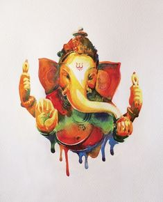 54 Ganesha Homa - Get Heaps of Blessings for Increasing Chances of Wealth, Prosperity & Wisdom Lord Ganesha Paintings, Lord Shiva Painting, Ganesha Art, Indiana, Om Gam Ganapataye Namaha, Indian Paintings, Abstract Paintings, Art Paintings, Simple Paintings