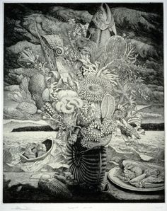 """Thomas Wood, """"Marine Bouquet,"""" 2000, etching, drypoint, chine colle, edition of 125, 17.5"""" x 14.25"""" US$1,000"""
