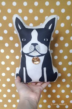 Boston Terrier pillow plush doll ON SALE. By Sara Harvey. Multiplepersonality.etsy.com