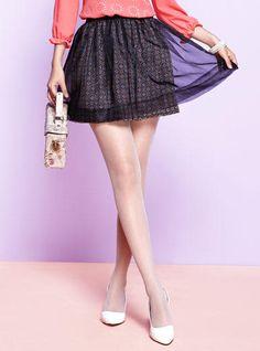 Tulle-Overlay Patterned Skirt - Moonbasa | YESSTYLE