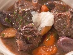 Short Rib Stew with Vegetables and Port Recipe : Nancy Fuller : Food Network Rib Recipes, Cooking Recipes, Entree Recipes, Food Network Farmhouse Rules, Short Rib Stew, Boneless Beef Short Ribs, Nancy Fuller, Party Favors, Caldo De Res