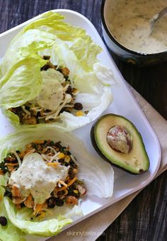 Turkey Santa Fe Lettuce Wraps – A lighter and filling snack for the big game. Turkey Lettuce Wraps, Turkey Wraps, Turkey Recipes, Dinner Recipes, Lunch Recipes, Skinny Recipes, Healthy Recipes, Clean Eating, Healthy Eating