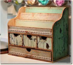 Altered Boxes, Altered Art, Scrapbook Box, Scrapbooking, 3d Paper Crafts, Diy Crafts, Decoupage, Cardboard Organizer, Craft Room Storage
