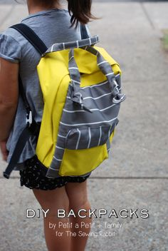 How to sew a backpack, with amazing graphics video. Perfect for back to school sewing for your younger kids. With link to larger backpack tutorial. Fall Sewing, Sewing For Kids, Backpack Tutorial, Little Backpacks, Sewing Tutorials, Sewing Projects, Sewing Kits, Bag Tutorials, Mini Backpack