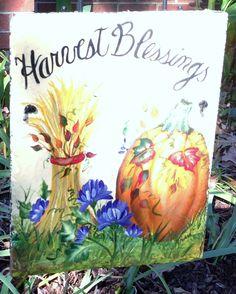 Autumn Garden Slate Autumn Garden, Slate, Harvest, Blessed, Hand Painted, Fall, Autumn, Chalkboard, Fall Season