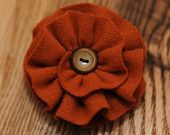 Orange Wool Flower Brooch with Vintage Button