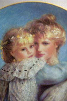 "1989 W. George ""Precious Embrace"" by Brenda Burke ~ Decorative Collector Plate: Removed Father Images, Brenda, Vintage Mom, English Artists, Impressionist Art, Child And Child, Mother And Father, Mothers Love, Figure Painting"