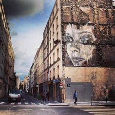 Portuguese artist Alexandre Farto (b 1987) aka 'Vhils', who creates substraction murals by chipping away at the outer walls of brick buildings vhils.com/work/
