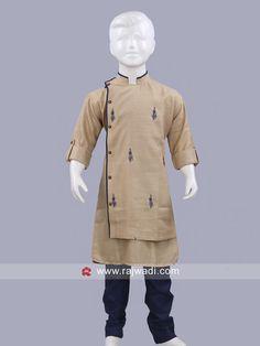Beige Color kurta With Navy Bottom #rajwadi #kidswear #boys #ethnic #traditional #modern #trendy #fashionable #kidsfashion
