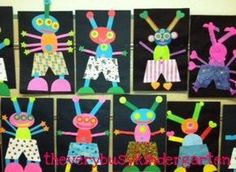 """Alien craft for book """"Aliens Love Underpants"""" Provide kids with different colorful shapes to create their own aliens."""