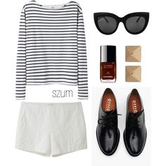 A fashion look from May 2013 featuring white shirt, linen shorts and black leather shoes. Browse and shop related looks. Mode Chic, Fashion Outfits, Womens Fashion, Fashion Styles, Elegant Outfit, Minimal Fashion, Polyvore Outfits, Everyday Outfits, Spring Summer Fashion