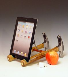 iPad stand. Handmade from repurposed tools. Functional desk art. Gift for guys. FAST SHIPPING. (297). $98.00, via Etsy.