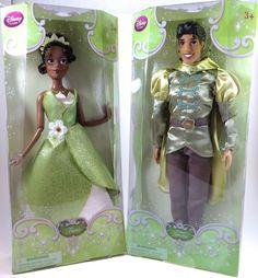 "DISNEY STORE PRINCESS TIANA & PRINCE NAVEEN CLASSIC 2 DOLL SET - 12"" H - NIB #Disney #Dolls"