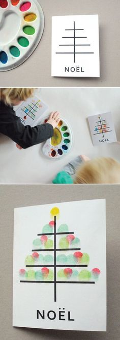 Fingerpaint Christmas Cards by the Kids | 49 Awesome DIY Holiday Cards