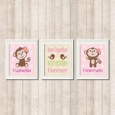 Monkey Nursery Decor Art Twin Girls Pink by LovelyFaceDesigns, $29.00