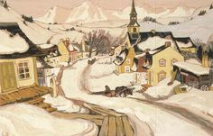 Village in the Laurnetian Mountains, oil on canvas, by Clarence A. Artist Painting, Artist Art, Clarence Gagnon, Gouache, Canadian Painters, Of Montreal, Snow Scenes, Landscape Paintings, Landscapes