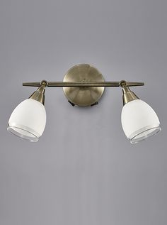 SPOT8982 Lutina 2 Light Switched Wall In Bronze Finish With Clear Edged Satin White Glass