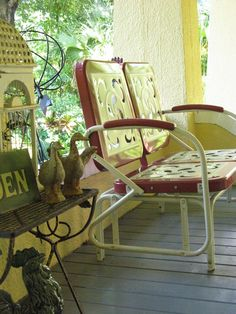 vintage looking porch glider