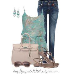 """""""Turquoise and Tan"""" Me encanta la combinación de colores y el diseño del top"""