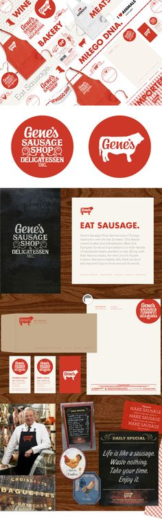 Love this branding - [Gene's Sausage Shop - Knoed Creative] Graphic Design Branding, Identity Design, Brand Identity, Corporate Identity, Brand Packaging, Packaging Design, Tool Design, Web Design, Design Color