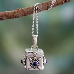 Fair Trade Sterling Silver and Lapis Lazuli Locket Necklace - Royal Prayer | NOVICA