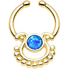 Blue Synthetic Opal Gold Anodized Egyptian Goddess Clip On Septum