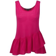 Women's French Connection Peplum Vest Top ($21) ❤ liked on Polyvore featuring tops, shirts, drapey tank, sleeveless peplum top, pink top, peplum tank and peplum tops