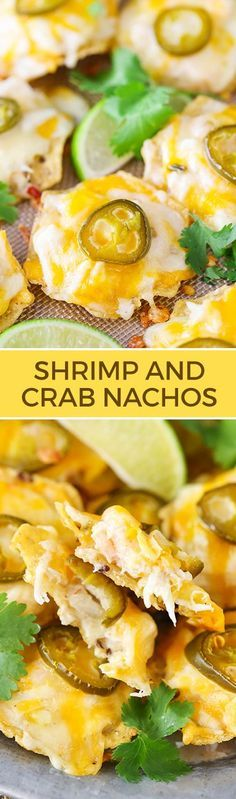 Shrimp and Crab Nachos - a great appetizer full of seafood, cheese and lots of flavor!   Life, Love and Sugar