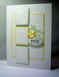 handmade card from Crafty Moments: Inspired by Butternutsage ... little matted panels with sections of birds and flourishes from embossing folder ... large panel with dots embossed texture ... small die cut flower and simple sentiment ... beautiful card!